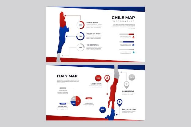 Kleurovergang chili kaart infographic Gratis Vector