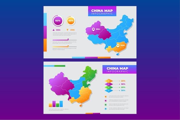 Kleurovergang china kaart infographic Premium Vector