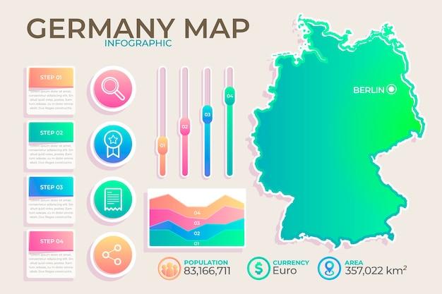 Kleurovergang duitsland kaart infographic Premium Vector