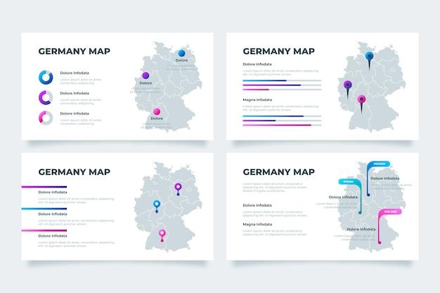 Kleurovergang duitsland kaart infographic Gratis Vector