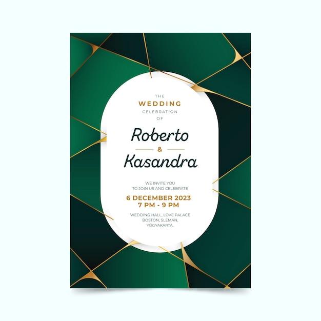 Kleurovergang geometrische groene bruiloft uitnodiging met ovale tekstruimte Gratis Vector
