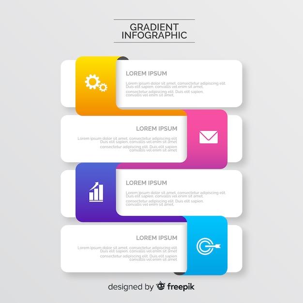 Kleurovergang infographic dialoogvenster stijl Gratis Vector