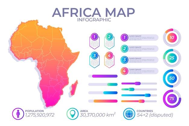 Kleurovergang infographic kaart van afrika Gratis Vector