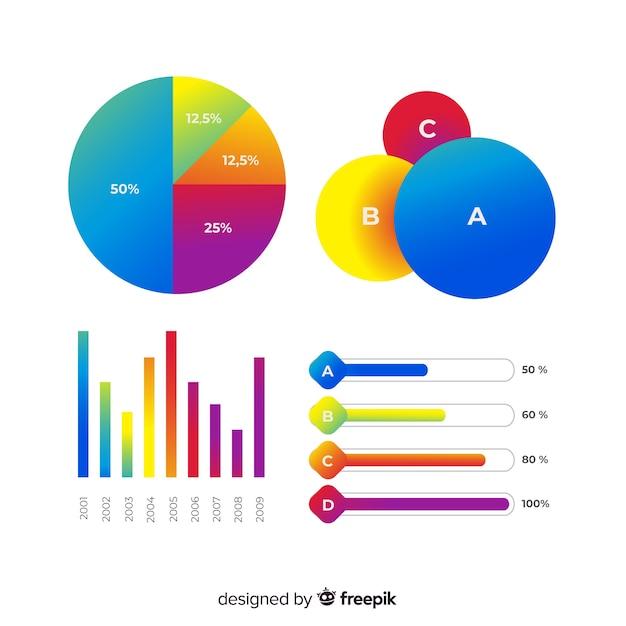 Kleurovergang infographic sjabloon met cirkeldiagrammen Gratis Vector