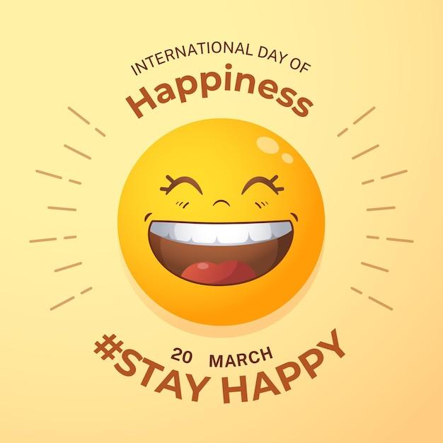 Kleurovergang internationale dag van geluk illustratie met emoji Gratis Vector