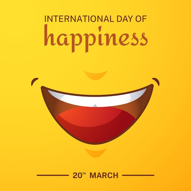 Kleurovergang internationale dag van geluk illustratie met glimlach Gratis Vector