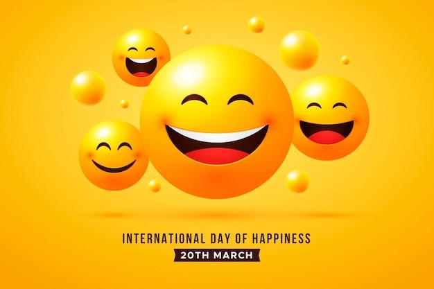Kleurovergang internationale dag van geluk illustratie Gratis Vector