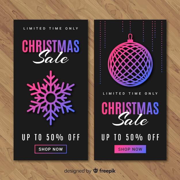 Kleurovergang kleurelementen kerst koop banner Gratis Vector
