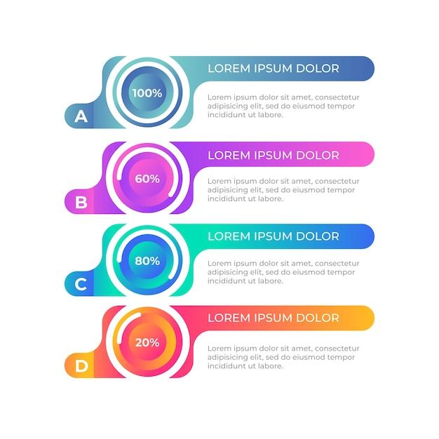 Kleurovergang kleurrijke infographic sjabloon Gratis Vector