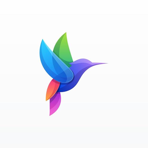 Kleurovergang kleurrijke vogel illustratie Premium Vector