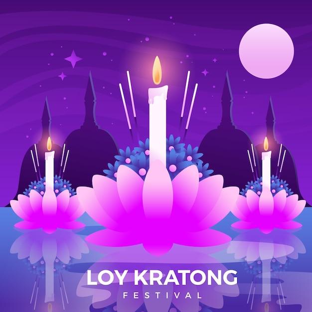 Kleurovergang loy krathong lotusbloem en kaarsen Gratis Vector
