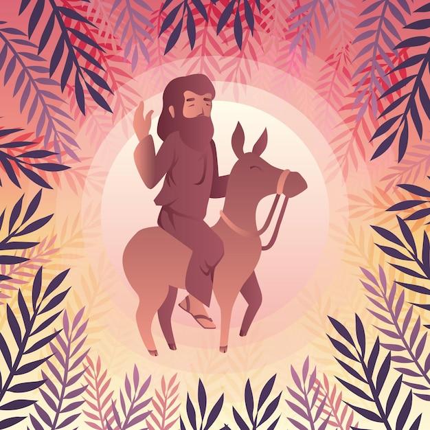 Kleurovergang palmzondag illustratie met jezus en ezel Gratis Vector