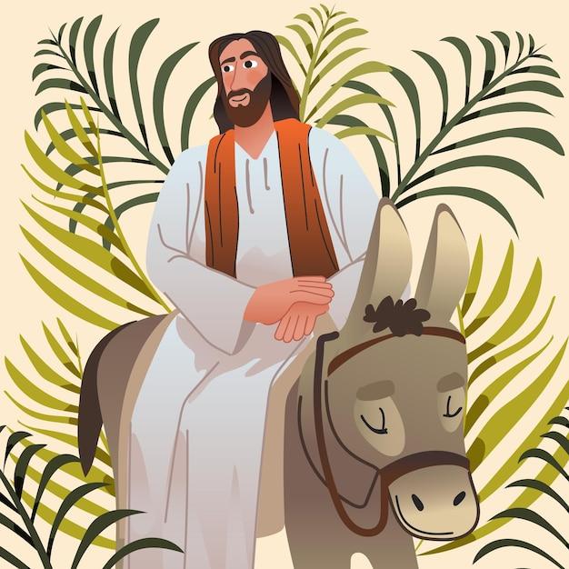 Kleurovergang palmzondag illustratie Gratis Vector