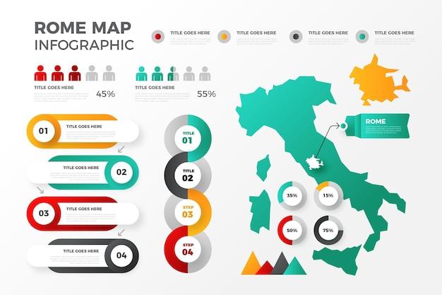 Kleurovergang rome kaart infographics Gratis Vector