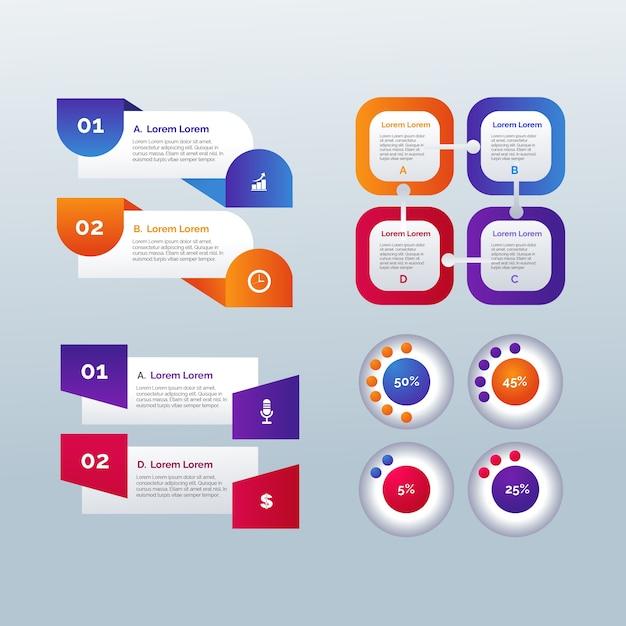 Kleurovergang sjabloon infographic elementen Gratis Vector