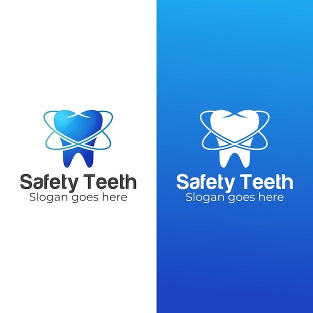 Kleurovergang tandheelkundige kliniek en veiligheidstanden logo Premium Vector