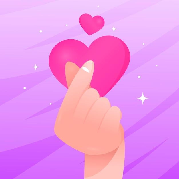 Kleurovergang vinger hart Gratis Vector