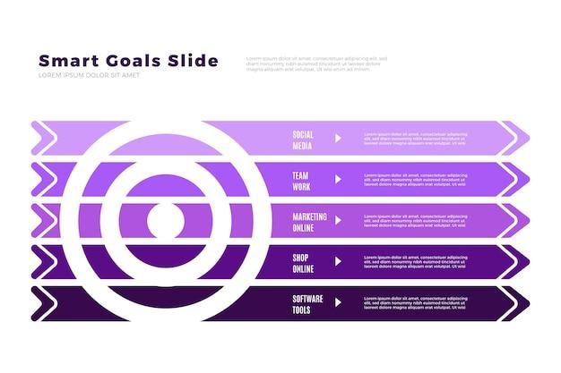 Kleurovergang violet doelen infographic Gratis Vector