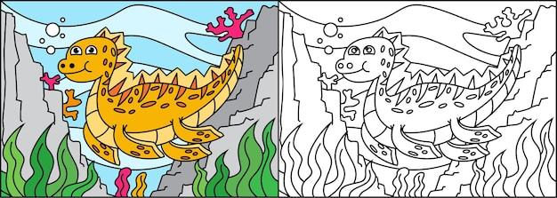 Kleurplaat dinosaurussen voor kinderen Premium Vector