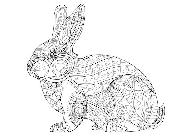kleurplaat konijn getrokken vintage doodle bunny