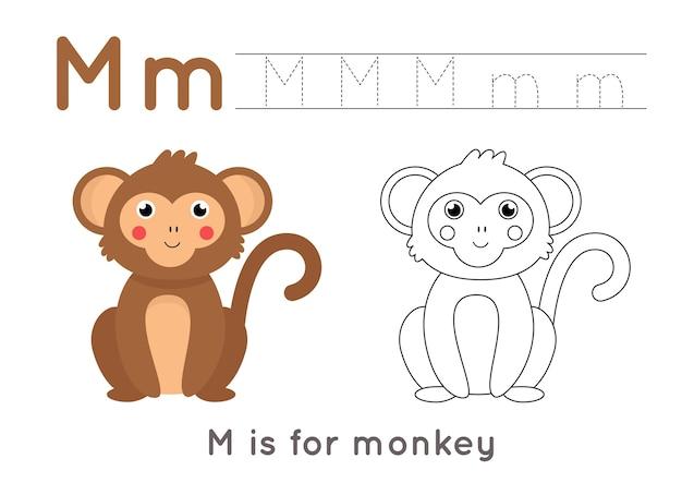 Kleurplaat met schattige cartoon aap. alfabet overtrekwerkblad met letter m. handschriftoefening voor kinderen. Premium Vector