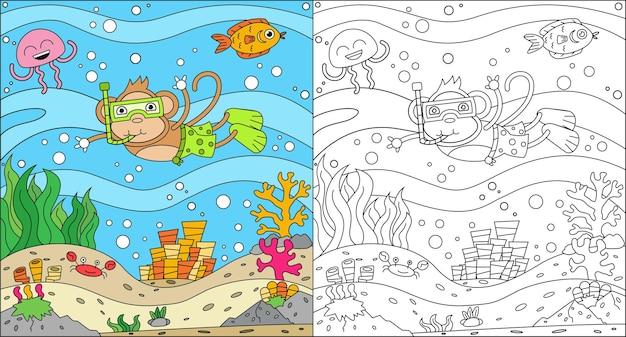 Kleurplaat van apen die in de zee zwemmen voor kinderen Premium Vector