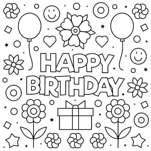 kleurplaat gelukkige verjaardag