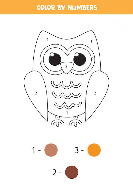Kleurplaat voor kinderen. schattige cartoon uil. Premium Vector
