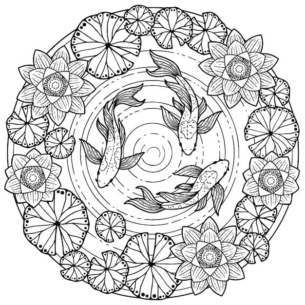 Kleurplaat voor volwassenen. tropische zomer patroon achtergrond met koivissen en lotos bloem Premium Vector