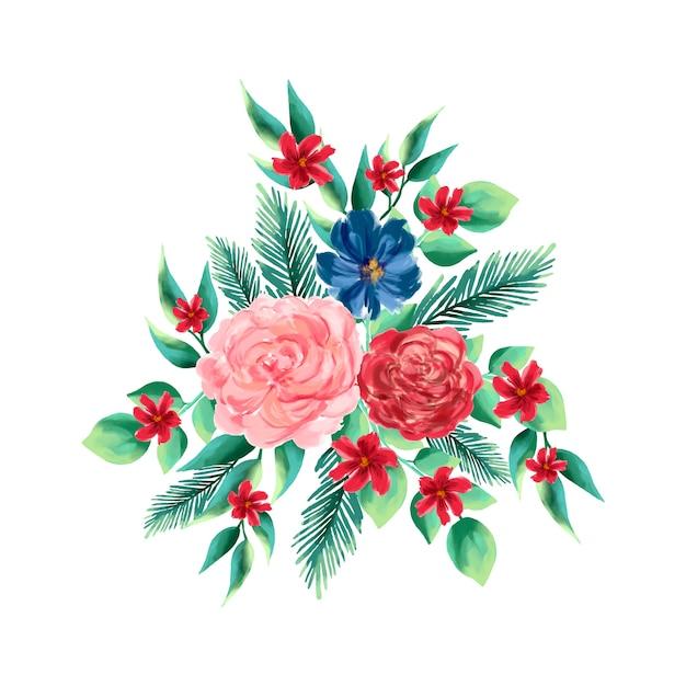 Kleurrijk 2d bloemenboeket Gratis Vector