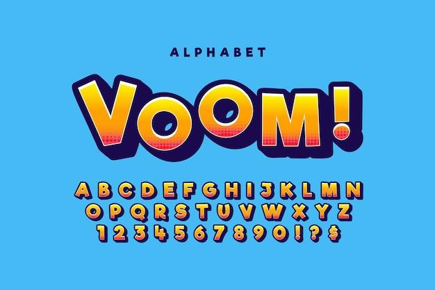 Kleurrijk 3d komisch alfabetconcept Premium Vector
