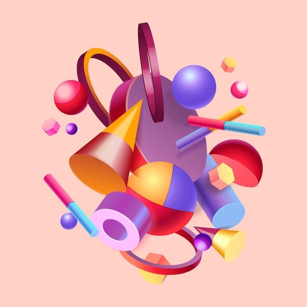 Kleurrijk 3d ontwerp als achtergrond Gratis Vector