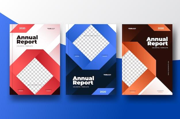 Kleurrijk abstract jaarverslagmalplaatje met foto Gratis Vector