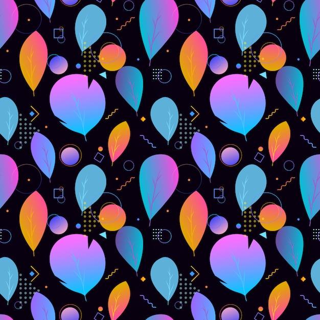 Kleurrijk abstract modern bladeren naadloos patroon Premium Vector