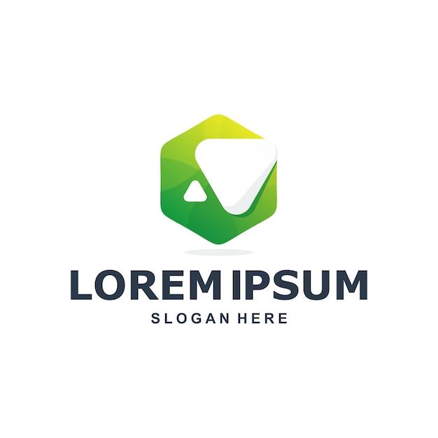 Kleurrijk abstract zeshoekig logo premium Premium Vector