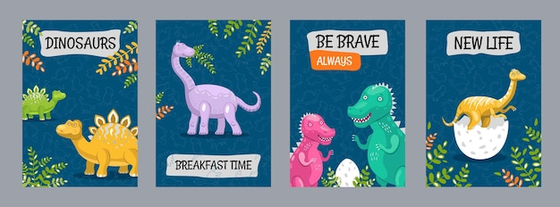 Kleurrijk affichesontwerp met grappige dinosaurussen Premium Vector