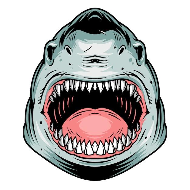Kleurrijk agressief haai hoofdconcept Gratis Vector