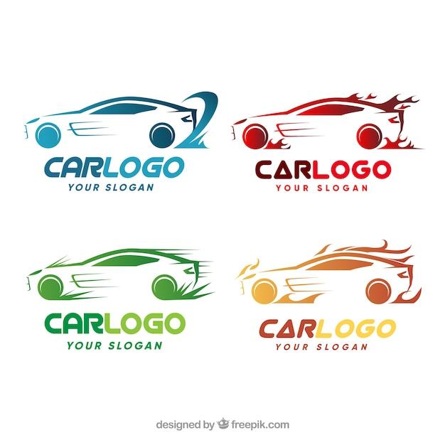 Kleurrijk auto-logopack Gratis Vector