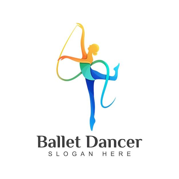 Kleurrijk balletdanserembleem, dansend de illustratiemalplaatje van het meisjesembleem Premium Vector
