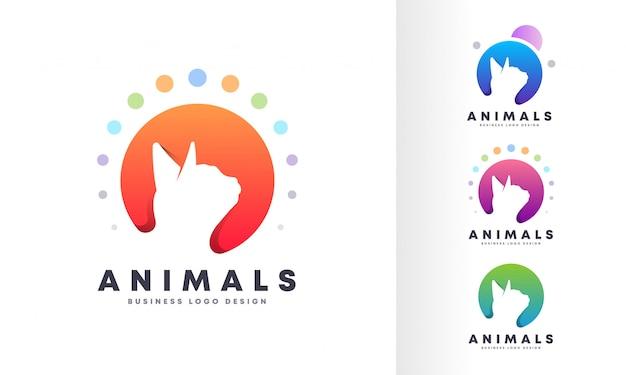 Kleurrijk bellen modern huisdier logo-ontwerp Premium Vector