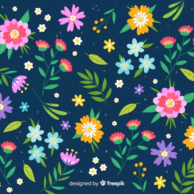 Kleurrijk bloemen vlak ontwerp als achtergrond Gratis Vector