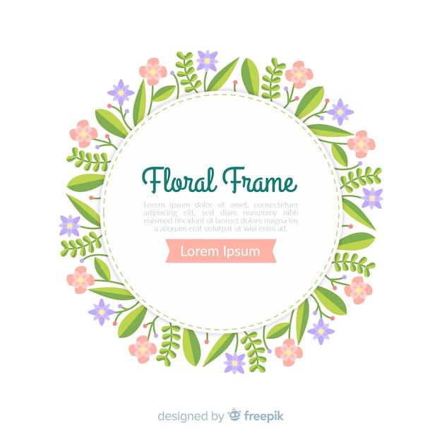Kleurrijk bloemenkader in vlak ontwerp Gratis Vector