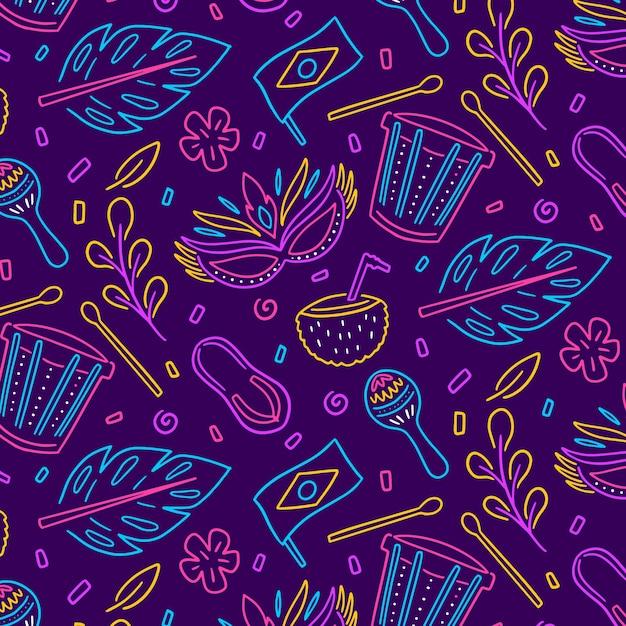 Kleurrijk braziliaans carnaval-patroon Gratis Vector