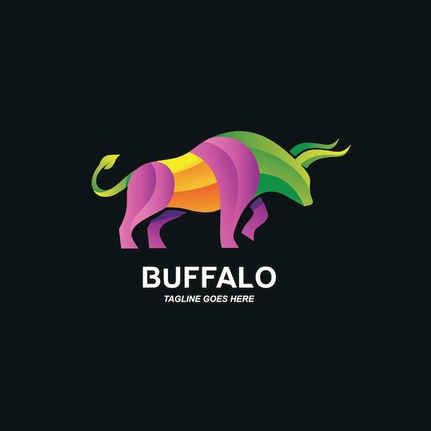 Kleurrijk buffellogo ontwerp Premium Vector