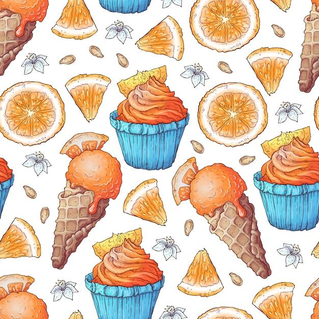 Kleurrijk citroen- en mandarijnfruit en citrusijs Premium Vector
