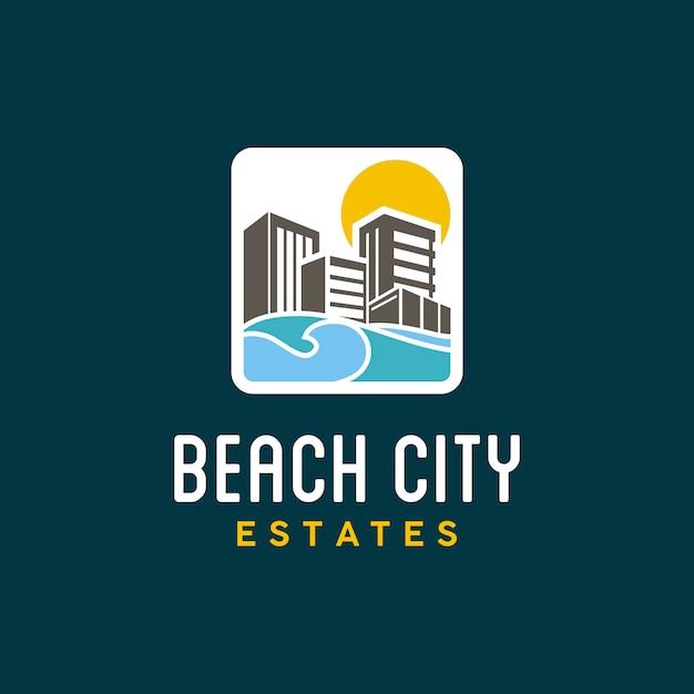 Kleurrijk cityscape en strandlogo ontwerp Premium Vector