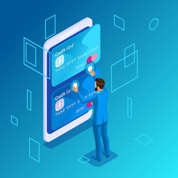 Kleurrijk concept op een blauwe achtergrond, beheer van online creditcards, jonge werkgever die het callcenter belt voor het overmaken van geld van kaart naar kaart Premium Vector
