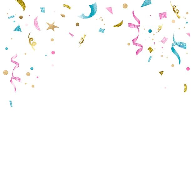 Kleurrijk confettien feestontwerp Gratis Vector
