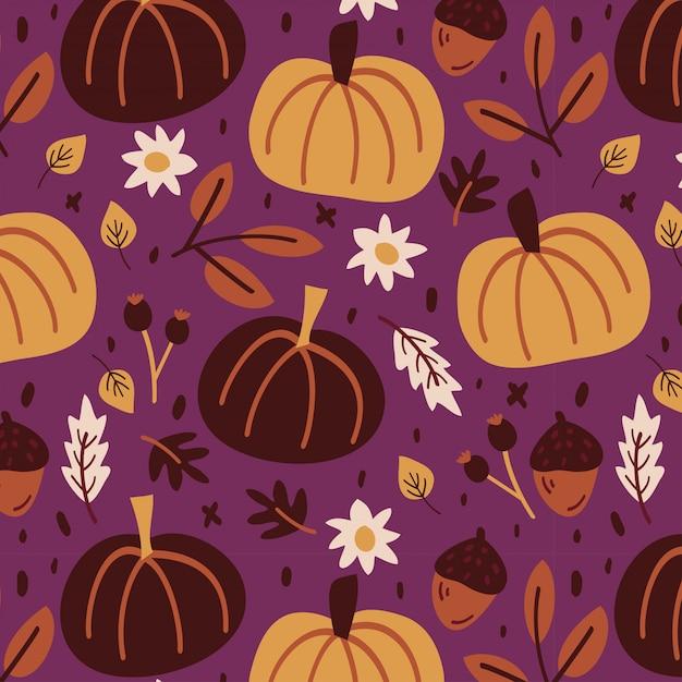 Kleurrijk de herfstpatroon met pompoenen en bladeren Premium Vector