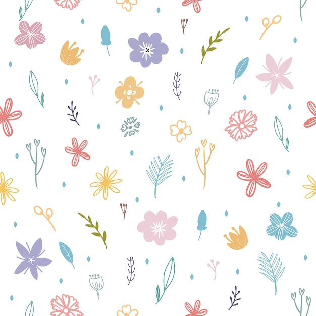 Kleurrijk de lentebloem en blad naadloos patroon Premium Vector
